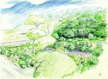 perspective villa et jardin